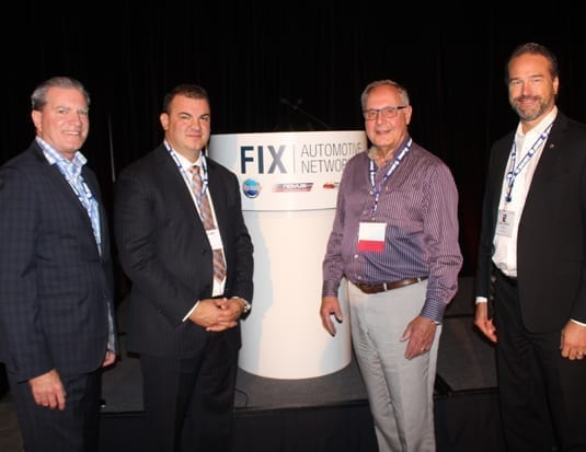 Michel Bourgeois, General Manager Fix Auto Quebec, Steve Leal, President and CEO of Fix Auto Canada, guest speaker and Second Cup founder Frank O'Dea, and Jean-Charles Dupuis, Vice-President and General Manager Fix Auto Canada.