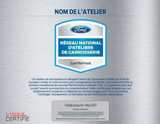 Un programme de certification des ateliers de carrosserie sera mis de l'avant par Ford Canada. (Illustration : Ford Canda)