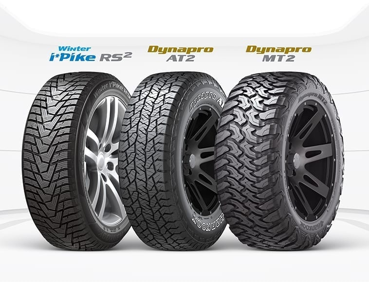 The awards recognizes multiple products including, Hankook i*pike RS2, Hankook Dynapro AT2, and Hankook Dynapro MT2.