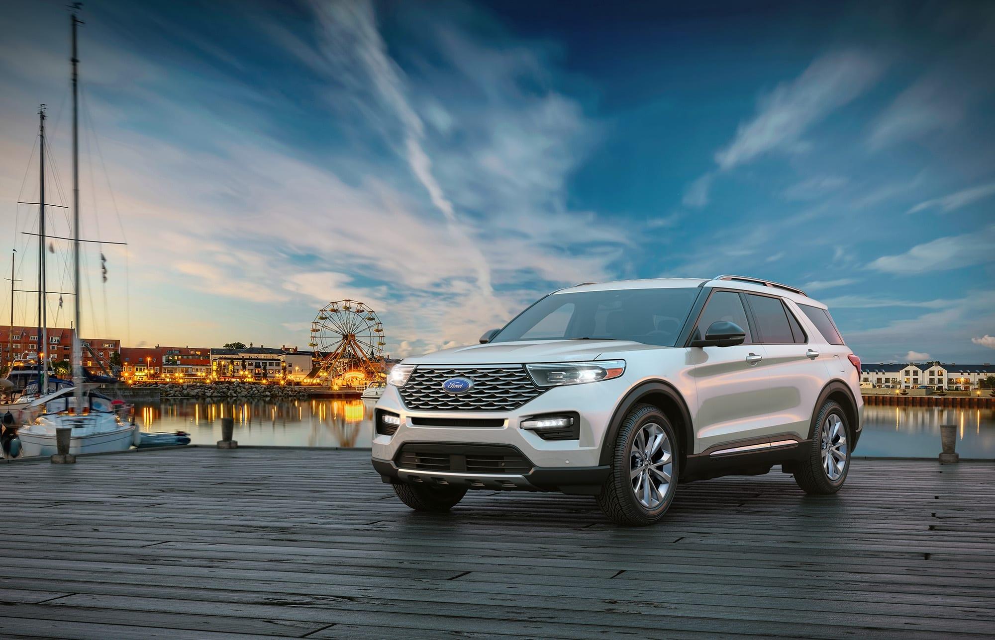 2021 Ford Explorer white front profile outdoor scene