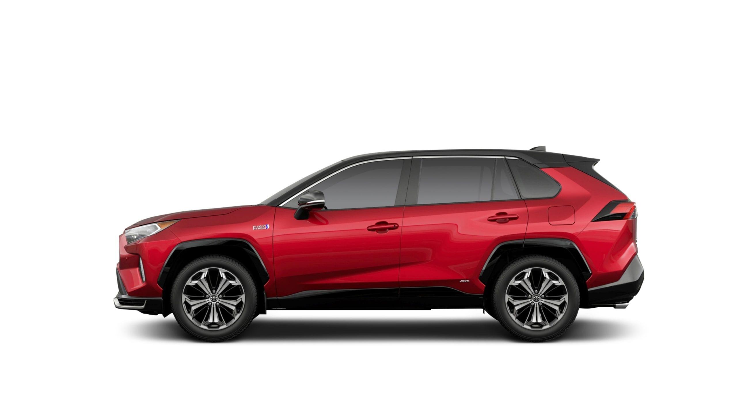 2021 toyota rav4 hybrid red side profile studio shot