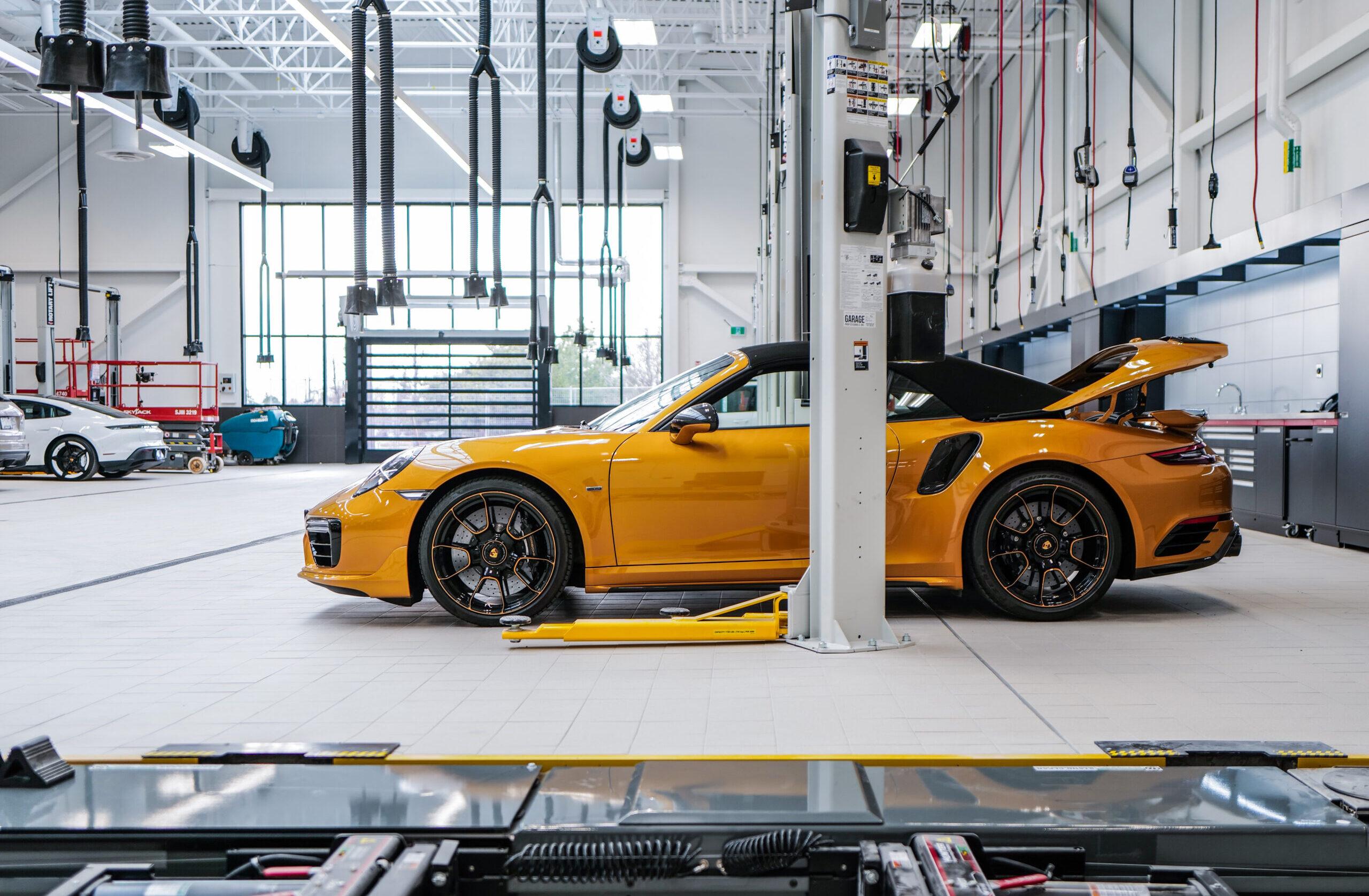 Porsche Centre Markham service centre yellow Porsche