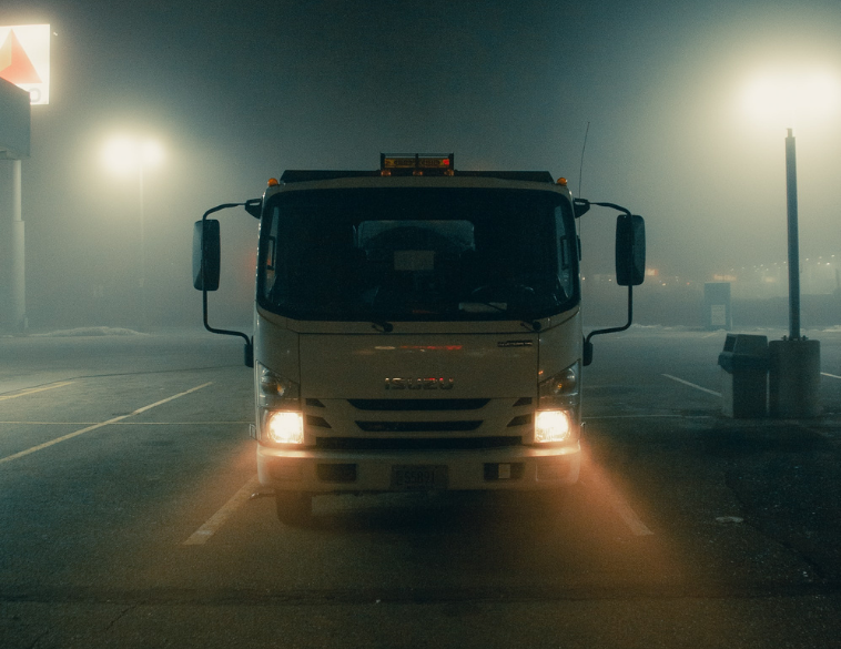 truck at night with fog headlights